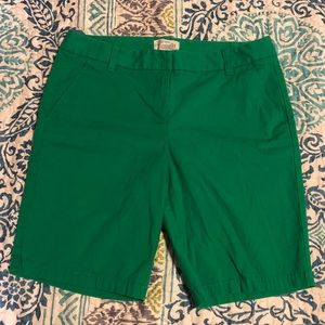 J. Crew green Bermuda shorts